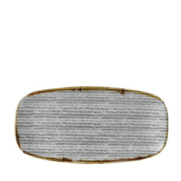 "Studio Prints Stone Grey Oblong Chefs Plate 11 5/8X5 7/8"" Box 12"