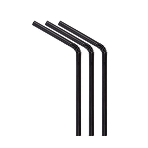 ECO rietjes zwart met buigstuk 6 Ø 15 cm