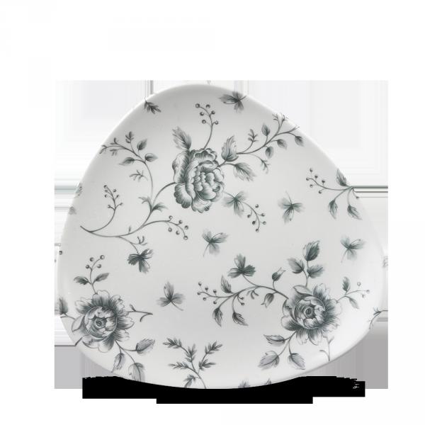 "Rose Chintz Grey Lotus Triangle Plate 7.75"" 12/box"
