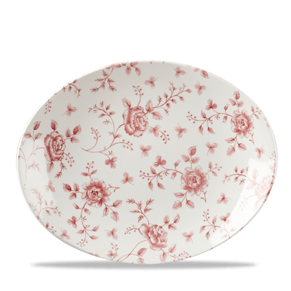 "Rose Chintz Cranberry Orbit Oval Coupe Plate 12.5"" 6/box"
