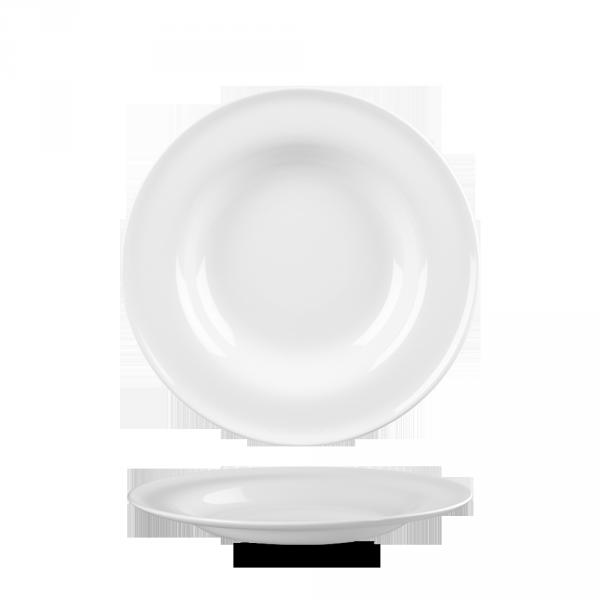 """White Contempo Soup Bowl 9"""" 12/box"""