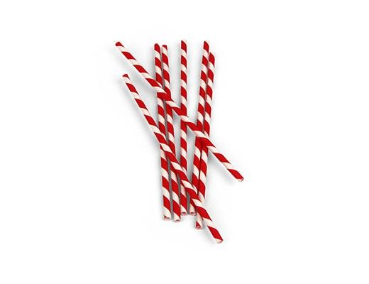 Paper straws red/white striped 144/box
