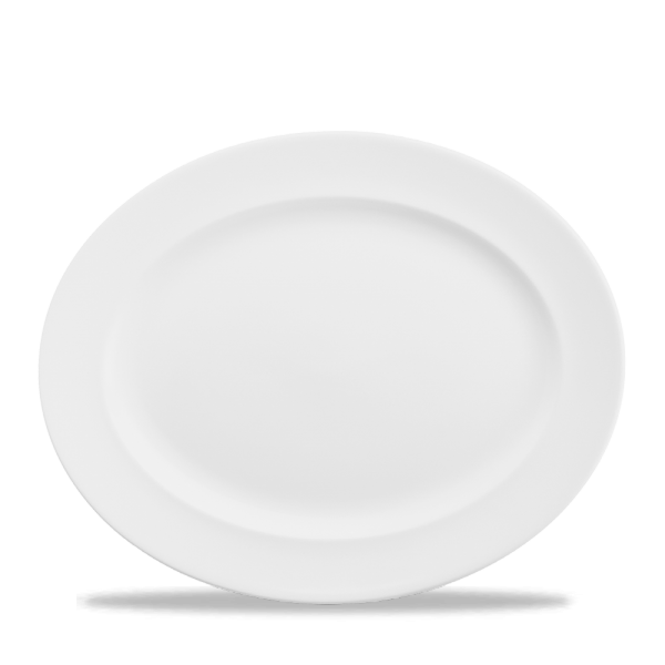"White Classic Oval Plate 14.375"" 6/box"
