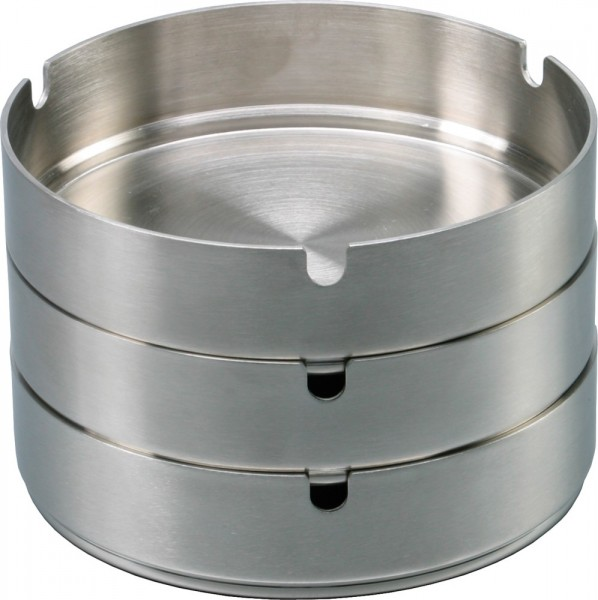 Ashtray stainless steel stackable Ø 12 cm