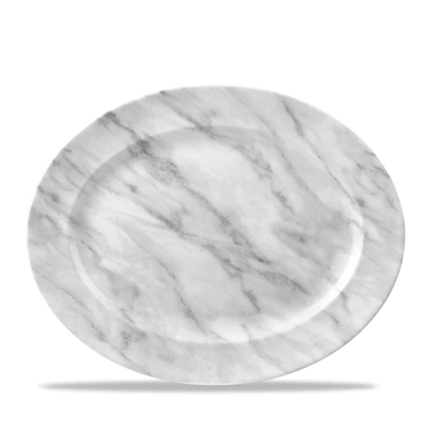 "Marble Grey Oval Rimmed 14 3/8"" X 11 1/2"" Box 6"