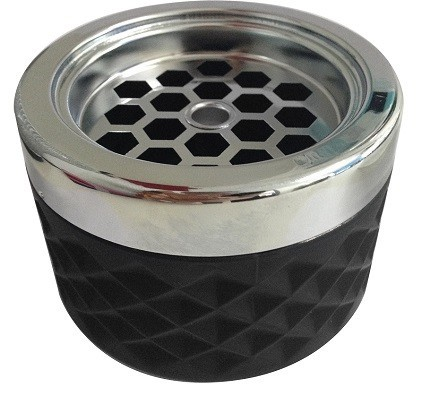 Windproof Ashtray black with chrome cap