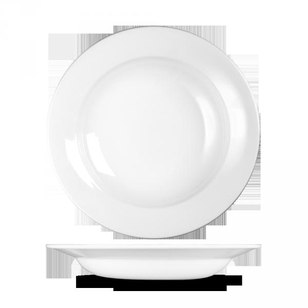 """White Profile Rimmed Soup 9.75"""" 12/box"""