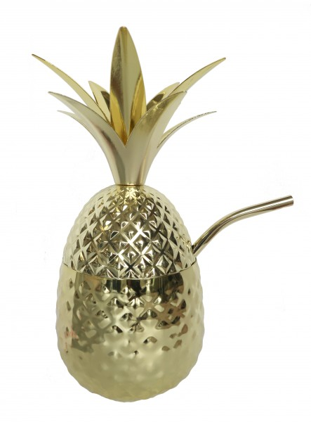 Metal Pineapple with straw Gold 710 ml