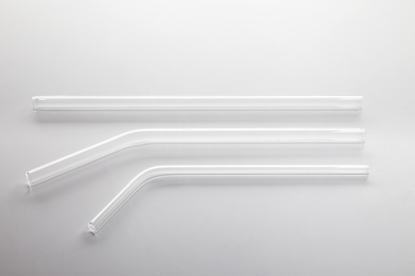 Glass straw curved