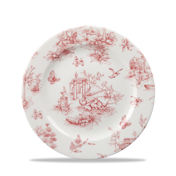"Toile Cranberry Profile Plate 8"" Box 6"