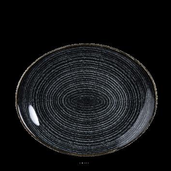 "Studio Prints Charcoal Black Orbit Oval Coupe Plate 10 5/8"""