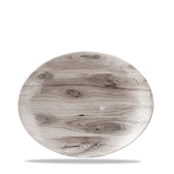 """Wood Sepia Oval Coupe Plate 7 3/4"""" 6/box"""