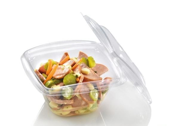 PLA saladebakje + deksel transparant 360 ml 40/box