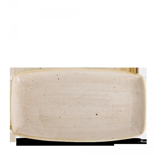 "Stonecast Nutmeg Cream X Squared Oblong Plate 13 1/2"" 6/box"
