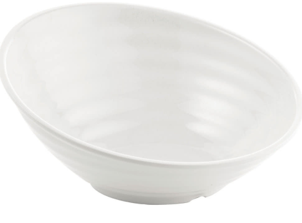 Melamine Sloped round bowl medium white