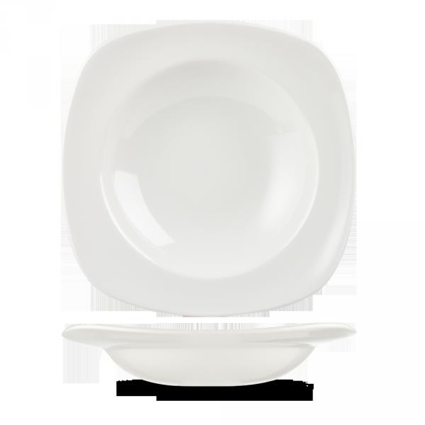 "White Equation Square Pasta Bowl 11"" 12/box"