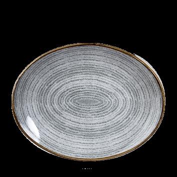 "Studio Prints Stone Grey Orbit Oval Coupe Plate 12.5"" 12/box"