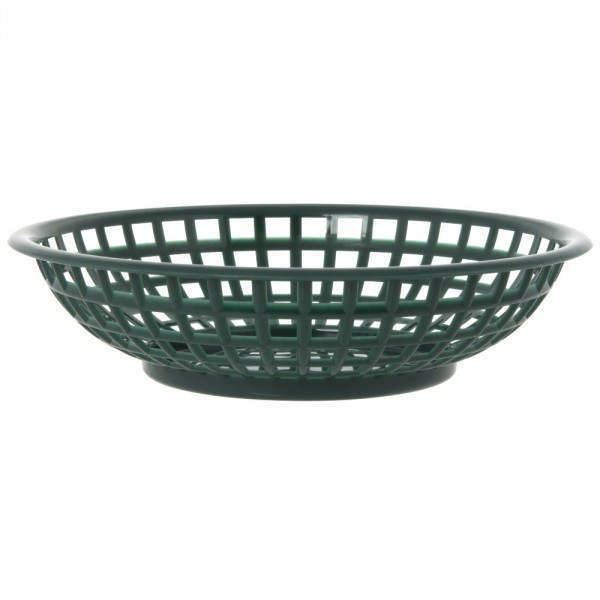Serving Round Plastic Basket Forest Green 36/box