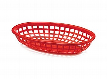 Side Order Oval Plastic Basket Red 36/box