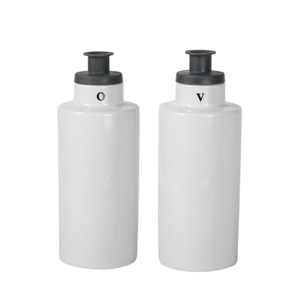 Oil & Vinegar with silicone pourer white