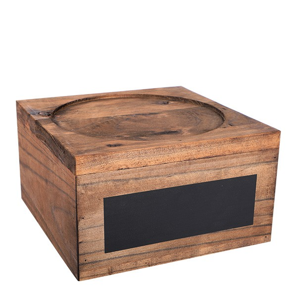 Wooden Punch Barrel Stand with chalkboard plaque