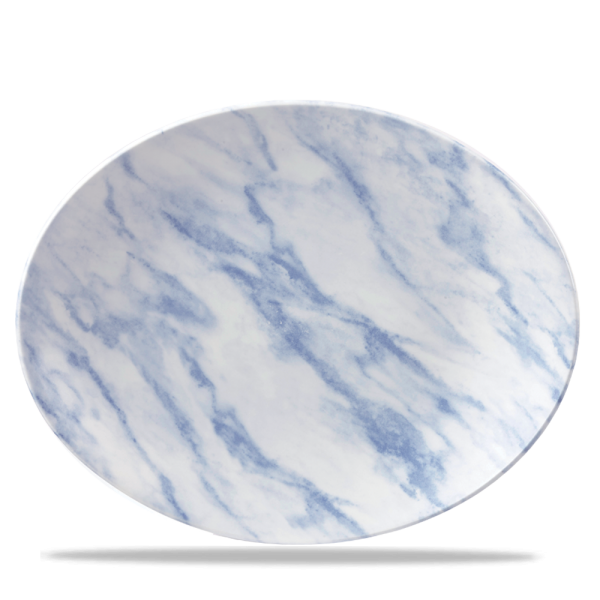 """Marble Blue Oval Coupe Plate 12 1/2"""" X 10"""" 6/box"""