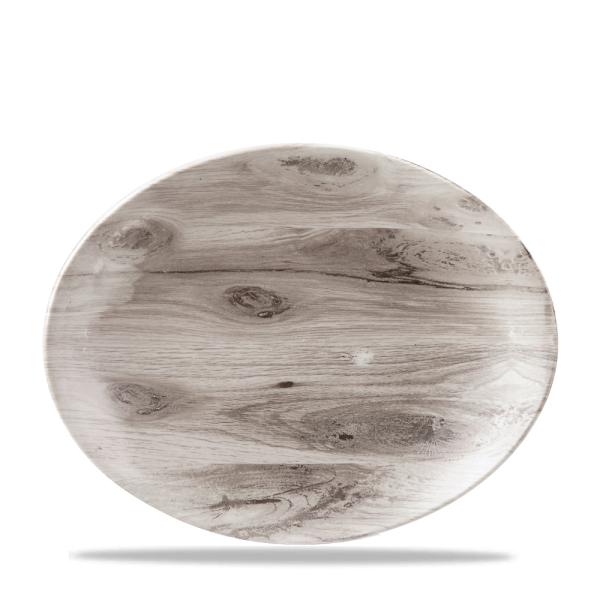 """Wood Sepia Oval Coupe Plate 12 1/2X10"""" Box 6"""