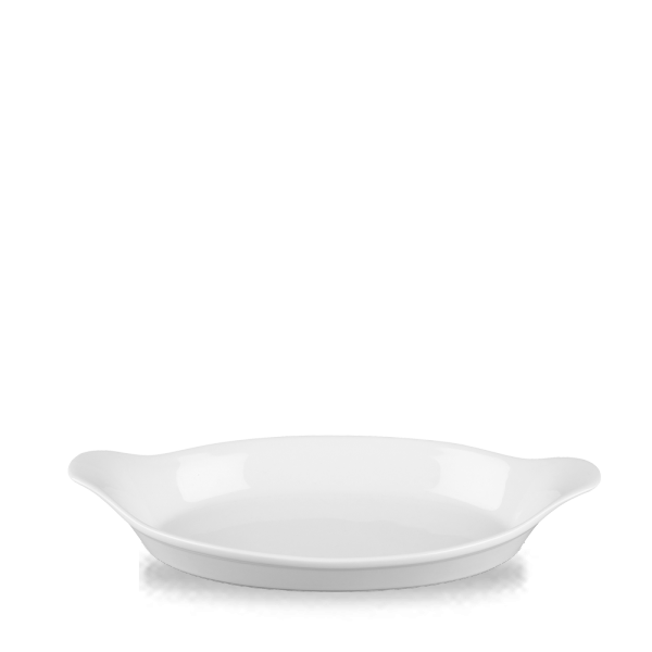 """White Cookware Large Oval Eared Dish 13.75"""" 6/box"""