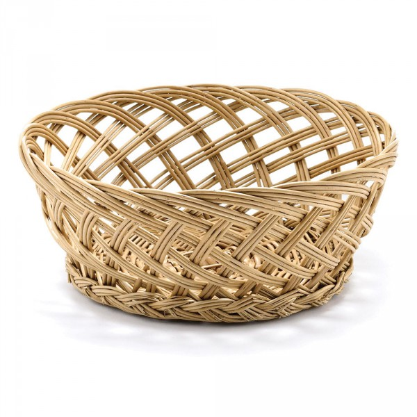 Handwoven basket round open wave