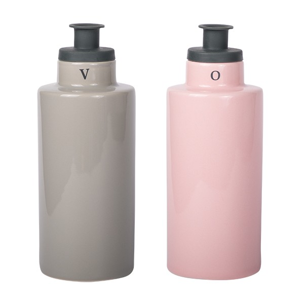 Oil & Vinegar with silicone pourer grey/pink