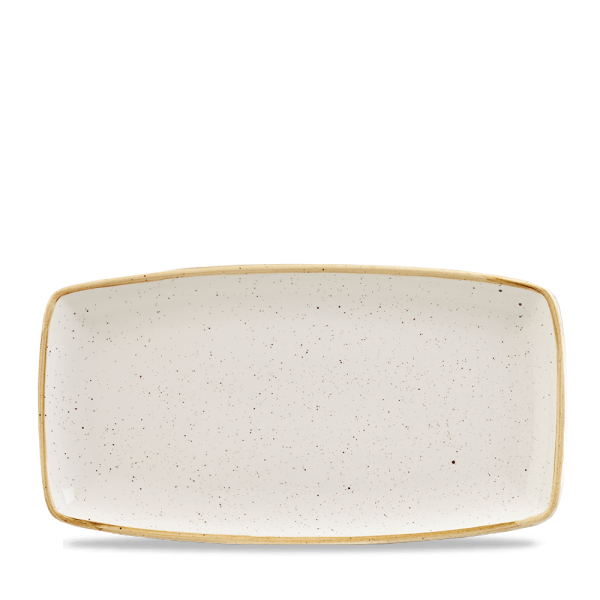 """Stonecast White Speckle X Squared Oblong Plate 13.75"""" Box 6"""