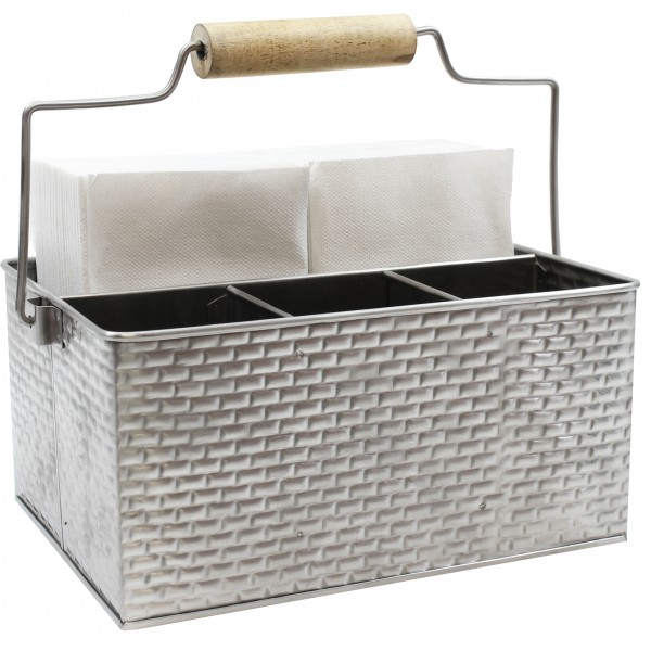 Brickhouse Collection Rectangular Flatware Caddy with Handle