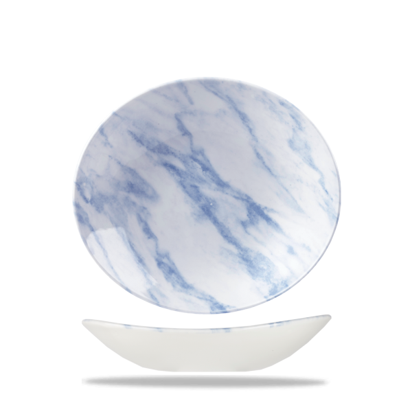 "Marble Blue Oval Coupe Bowl 10"" X 8 1/4"" Box 6"