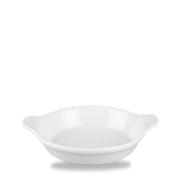 """White Cookware Small Round Eared Dish 6""""X7"""" 6/box"""