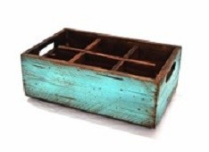 APS big wooden box, aged turquoise
