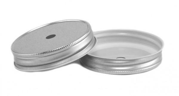 Mason Jar regular straw deksel zilver