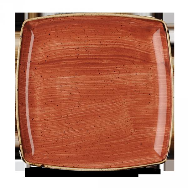 "Stonecast Orange Deep Square Plate 10.25"" Box 6"