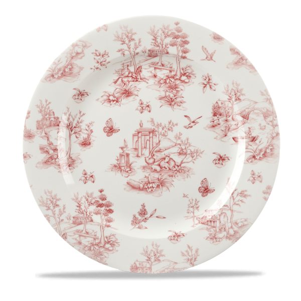 "Toile Cranberry Profile Plate 12"" 6/box"
