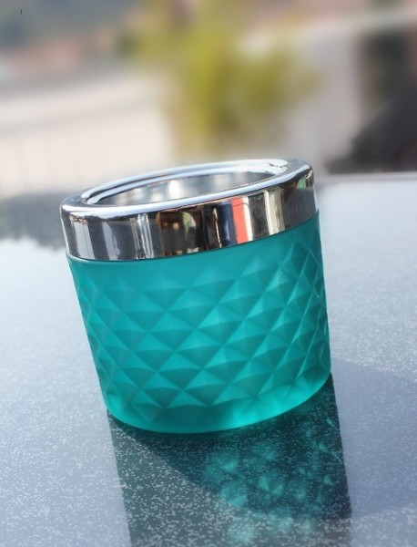 Windproof Ashtray blue with chrome cap