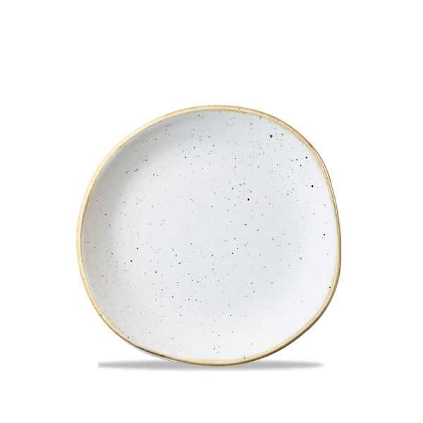 "Stonecast Barley White Round Trace Plate 7 1/4"" 12/box"