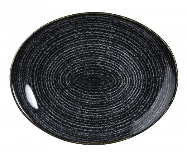 "Studio Prints Charcoal Black Orbit Oval Coupe Plate 12.5"" Box 12"