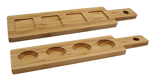 Wood Paddle Flight Acacia Holds 4 Glasses 1/box