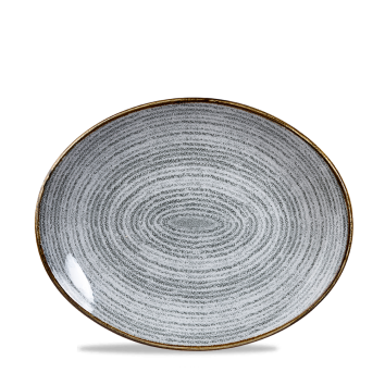 "Studio Prints Stone Grey Orbit Oval Coupe Plate 10 5/8"" 12/b"
