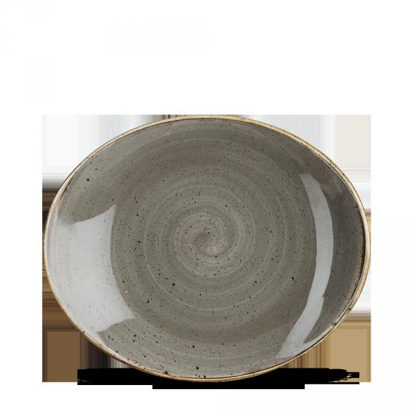 "Stonecast Grey Orbit Oval Coupe Plate 7.75"" 12/box"