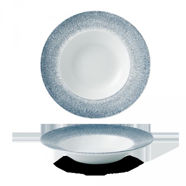 "Raku Topaz Blue Profile Wide Rim Bowl Med 9.4"" Box 12"