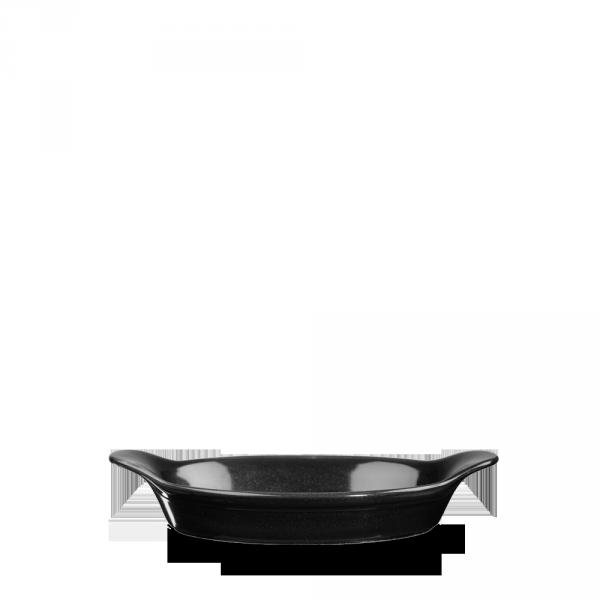 """Metallic Black Intermediate Oval Eared Dish 9""""X5"""" 6/box"""