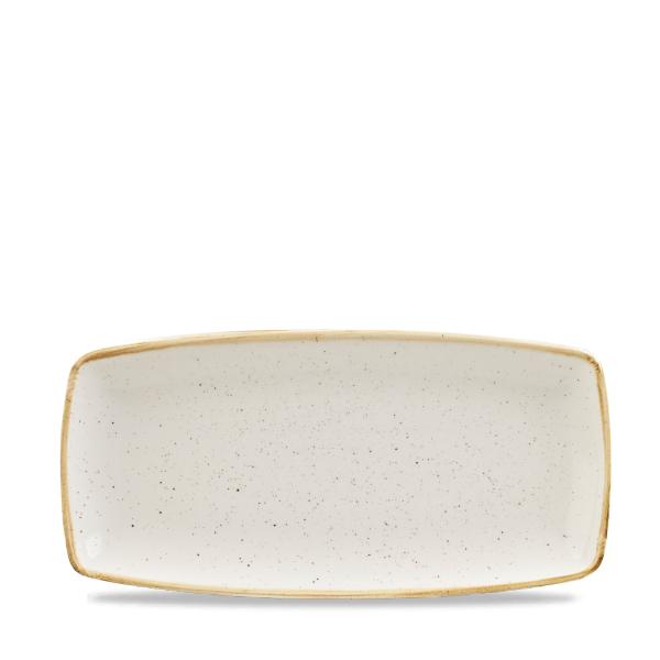 """Stonecast White Speckle X Squared Oblong Plate 11.75"""" Box 12"""