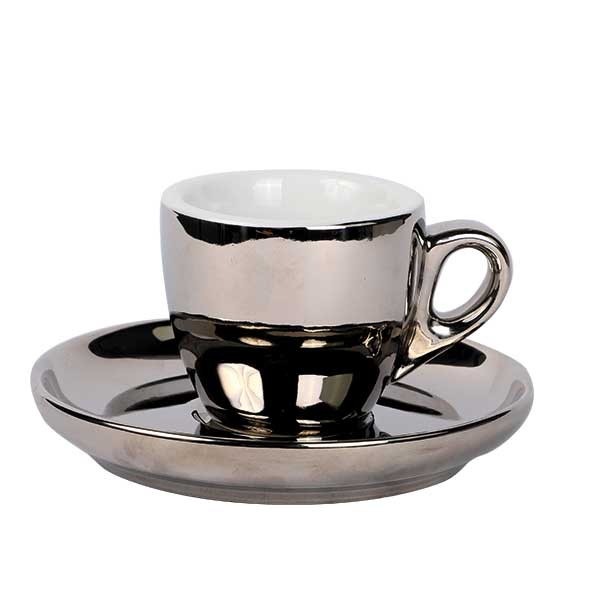 Espresso kop & schotel zilver 55 ml