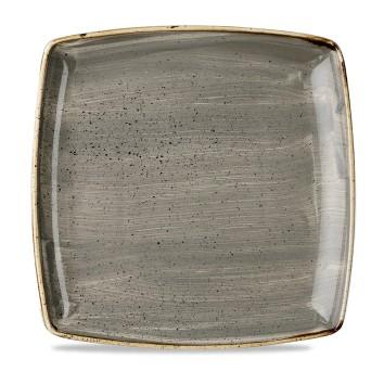 "Stonecast Grey Deep Square Plate 10.25"" Box 6"