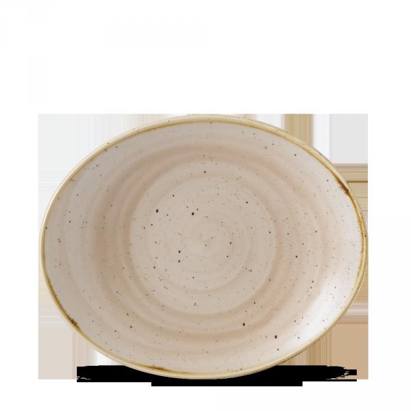 "Stonecast Nutmeg Cream Orbit Oval Coupe Plate 7.75"" 12/box"